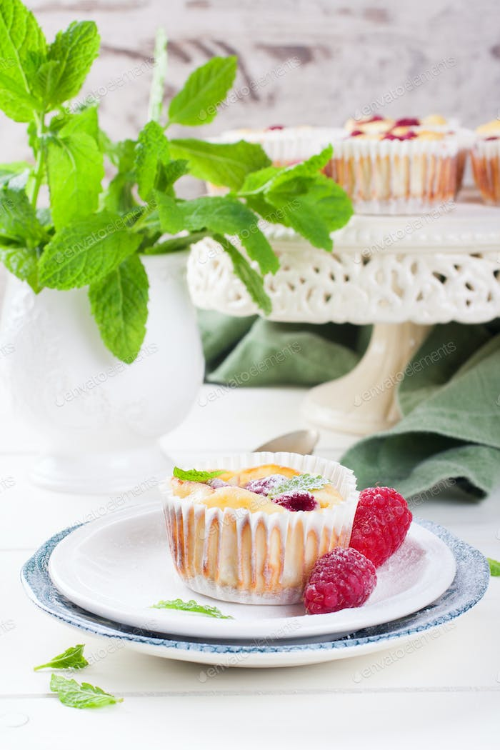 Ricotta mini cheesecake with fresh raspberries
