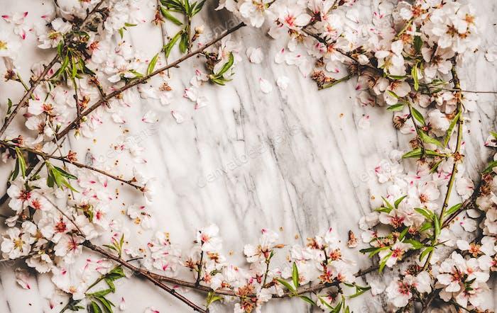 Weiße Frühlingsblüten über Marmorhintergrund, Kopierraum