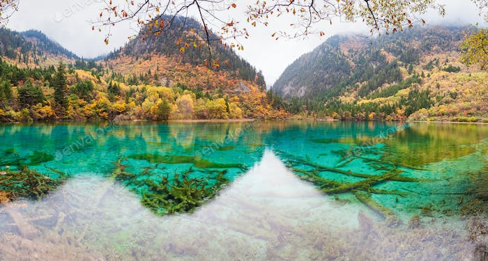 colorful pond in jiuzhaigou