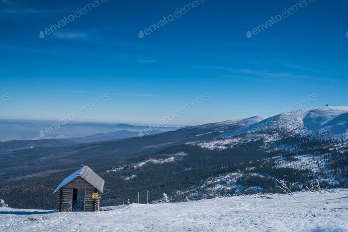 Wooden shelter on the mountain