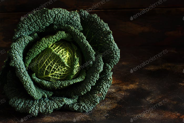 Raw savoy cabbage