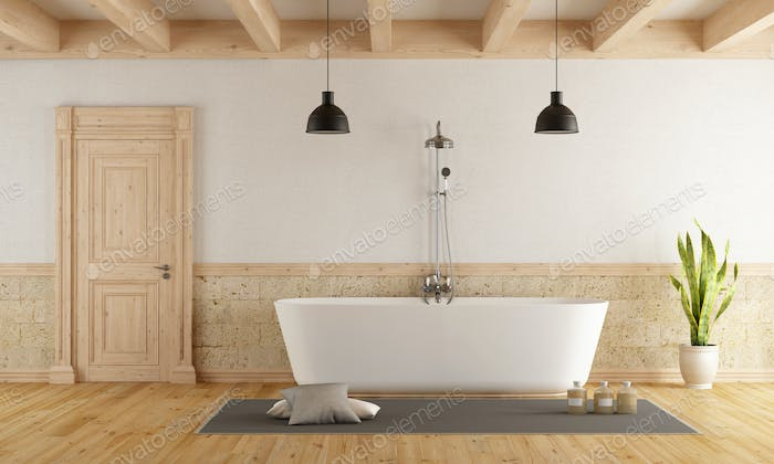 Modern bathtub in a rustic room