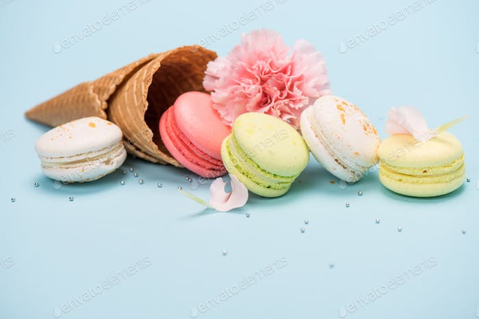 Group of handmade macarons in waffle cone and pink flower on blue surface. macarons background