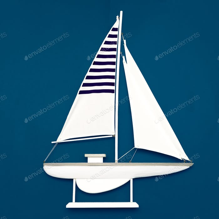 White yacht on a blue background. Minimal art