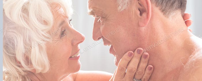 Senior woman looking with love at husband