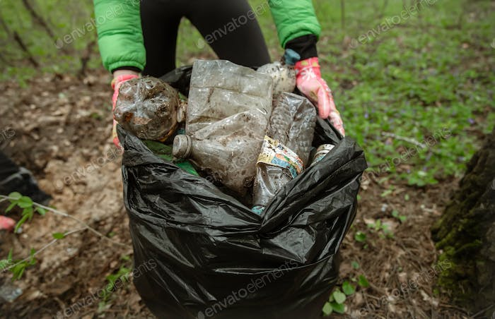 Close up of cleaning forest, environment from plastic.