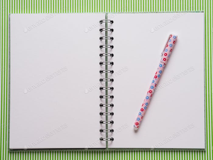 Open notebook with white pages