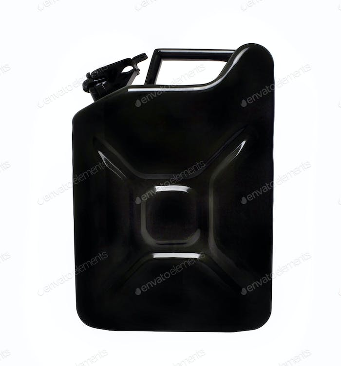 Metal jerrycan isolated on white background