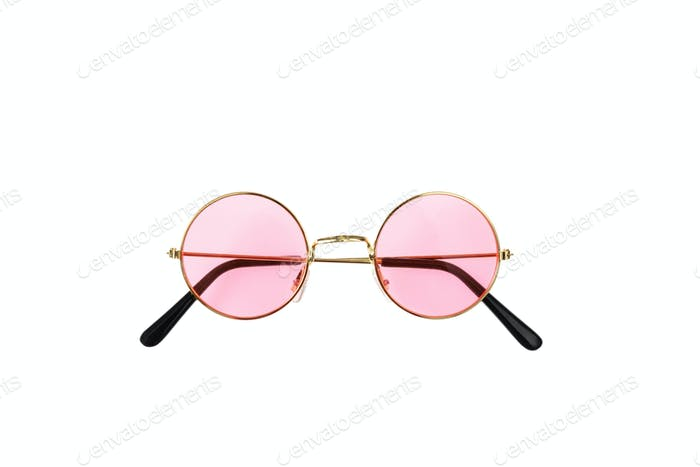 Golden frame sunglasses with pink lens isolated on white background, top view