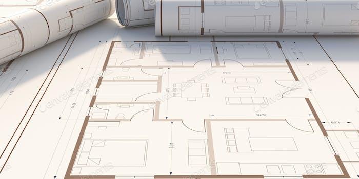 План жилых зданий, баннер. 3D иллюстрация