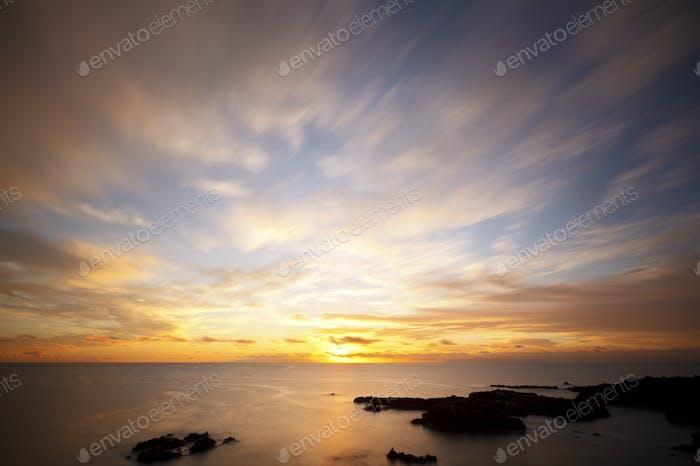 Canary Sunrise With Beautiful Clouds, La Palma