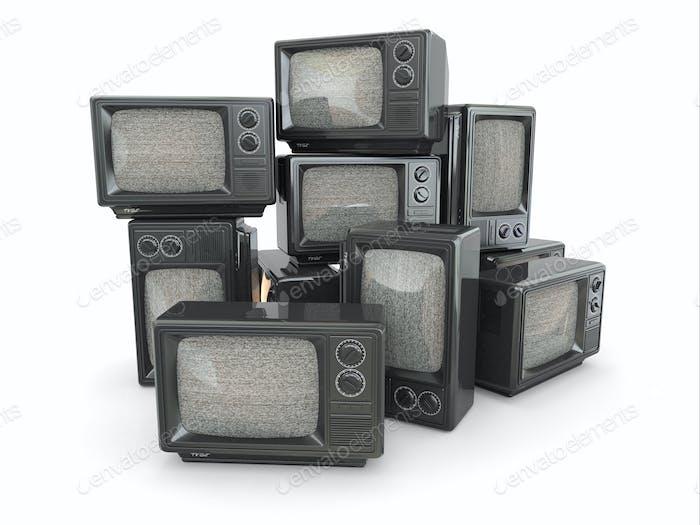 Haufen Vintage-tv. Ende des Fernsehens