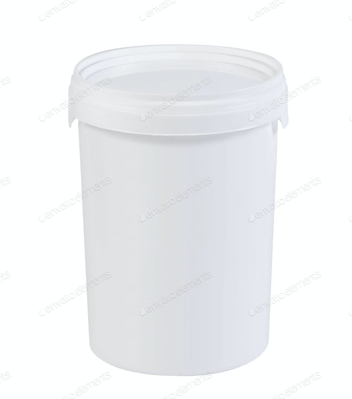 White plastic paint bucket isolated