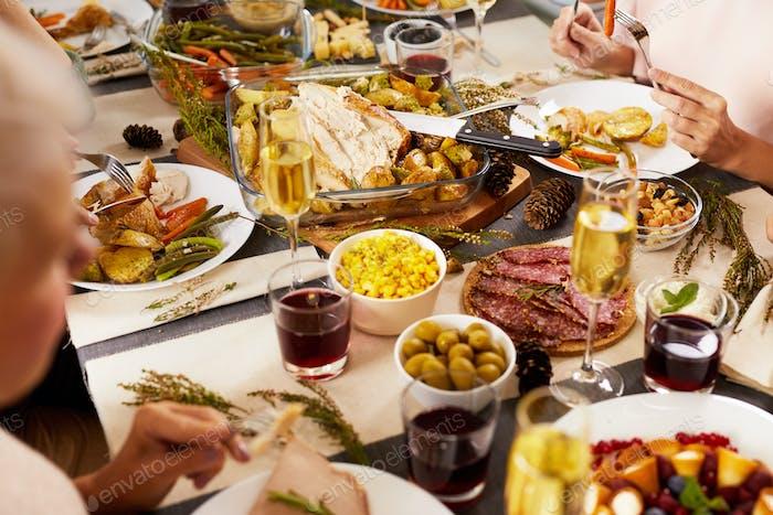 Cena familiar de vacaciones