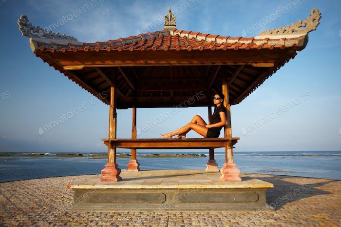 Woman at Bali seaside