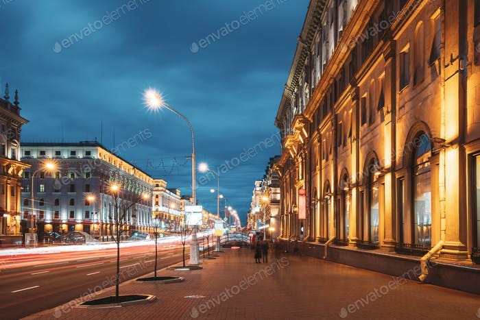 Minsk, Belarus. Traffic On Independence Avenue In Evening Night