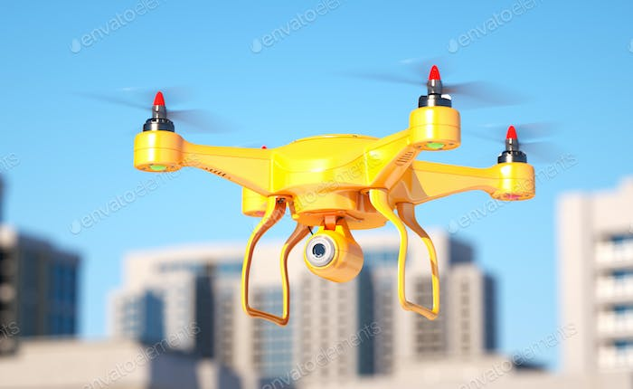 Generic quadcopter with camera spying in city