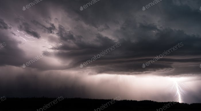 Canyon VillageThunderstorm Lightning Strikes Yellowstone National Park;