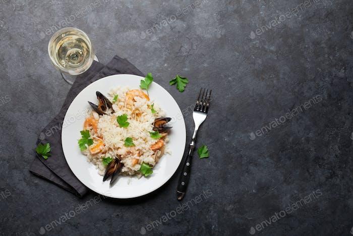 Delicious seafood risotto