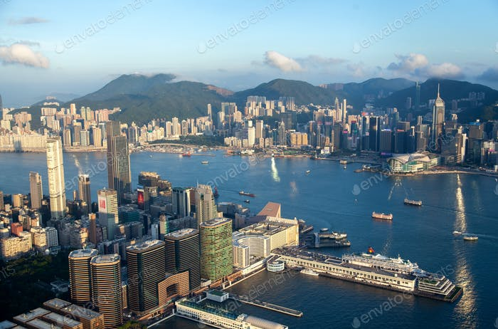 Cityscape Hong Kong Yau Tsim Mong district with skyscrapers