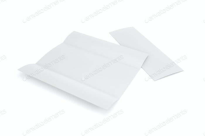 Blank white tri folded booklet mockup, opened and closed isolated on white background. 3d rendering.