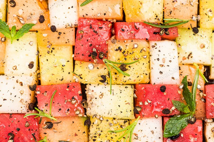 Creative Party Food, Melon and Watermelon Cubes with HErbs and S