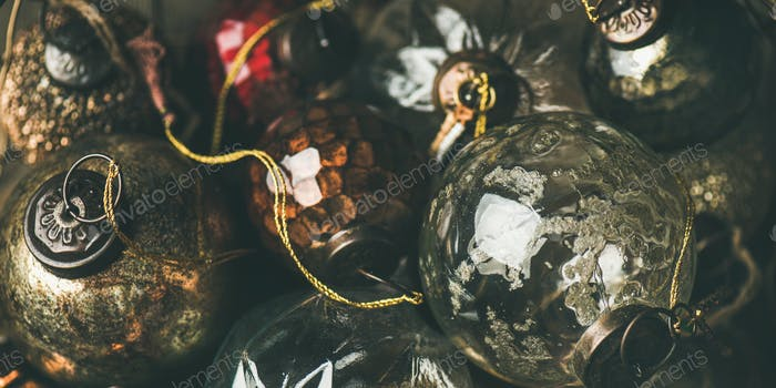 Vintage Christmas or New Year holiday decoration balls, close-up
