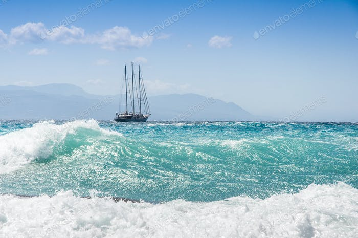 sailship in the fierce storm on the sea