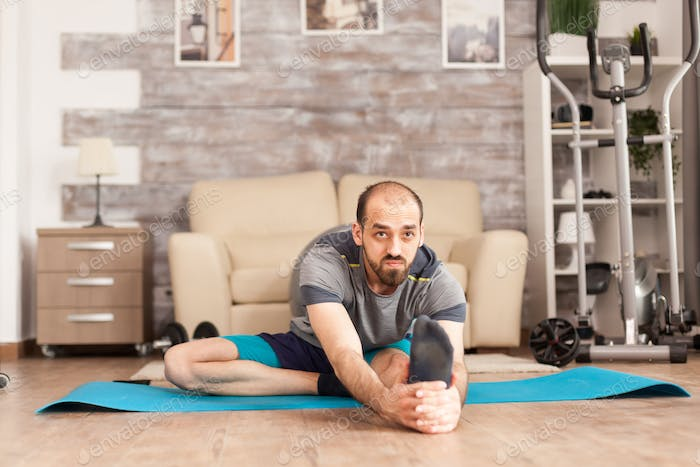 Healthy man doing mobily exercise