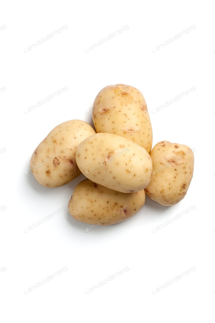 A handful of fresh young potatoes isolated on white background.