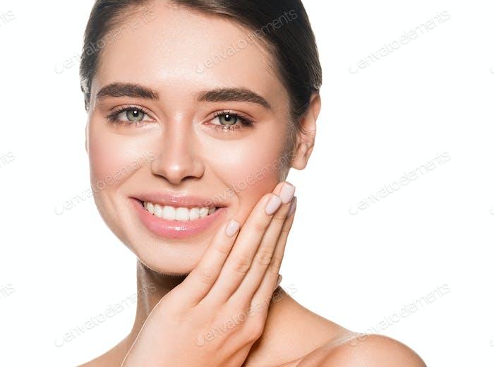 Woman teeth smile healthy skin beautiful face happy