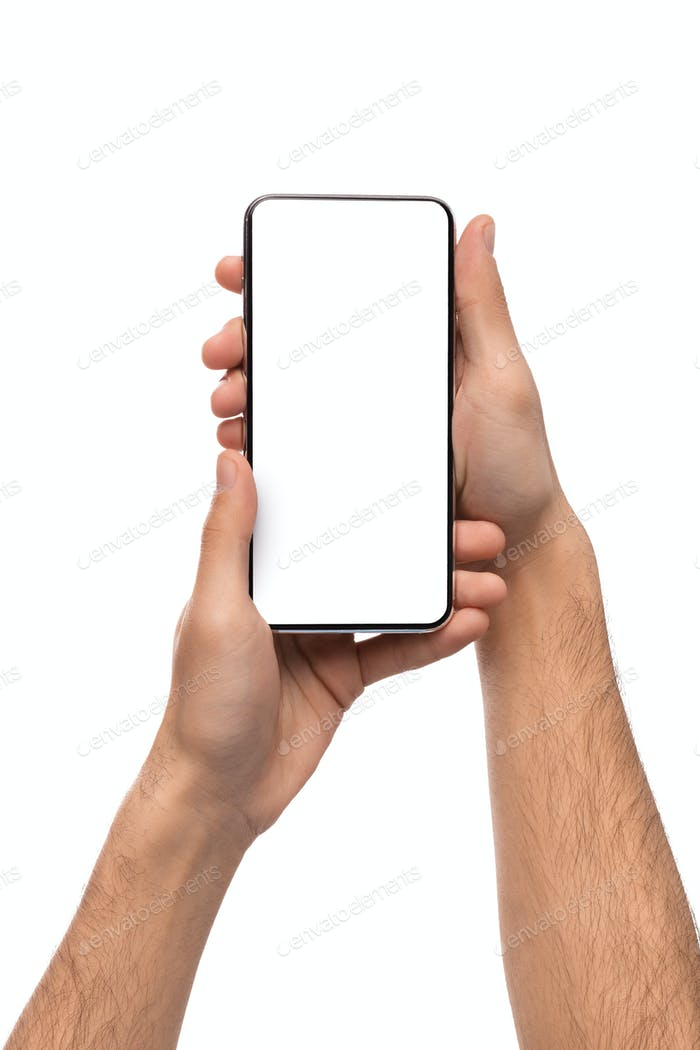 Frameless smartphone with blank screen in male hands