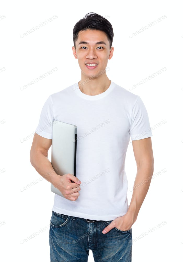 Asian young man hold with laptop computer