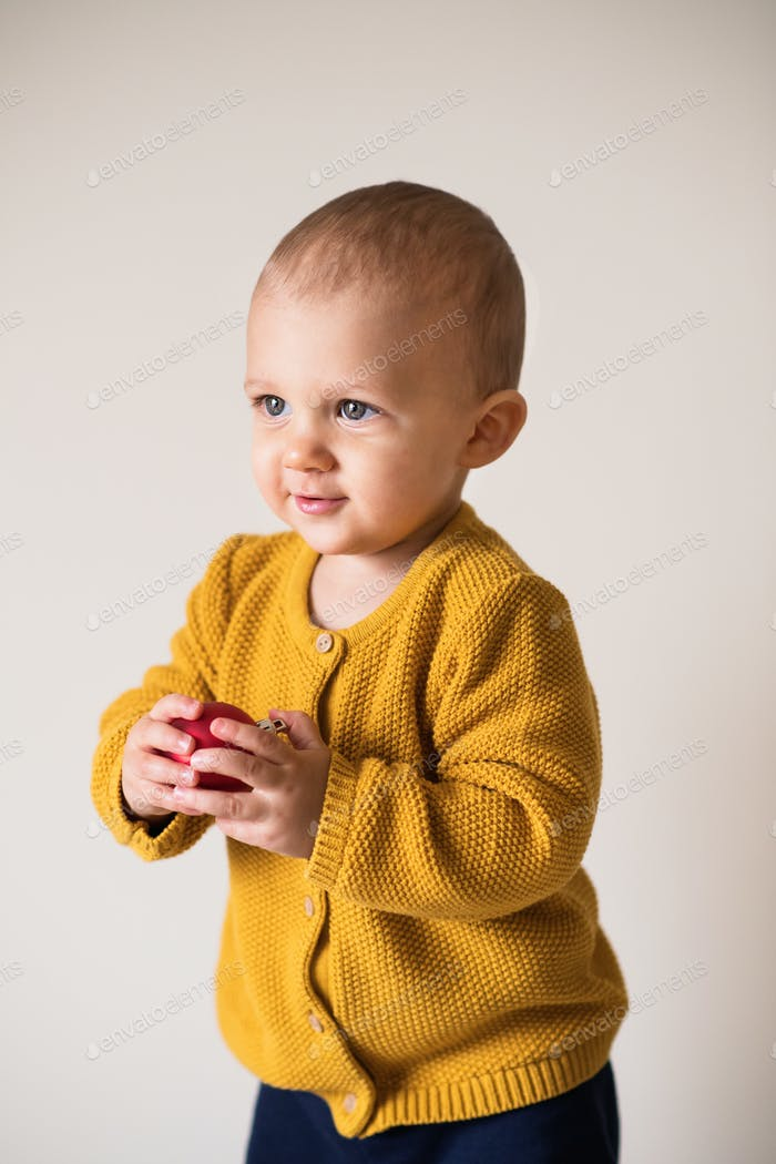 Portrait of a cute toddler boy holding a red ball.