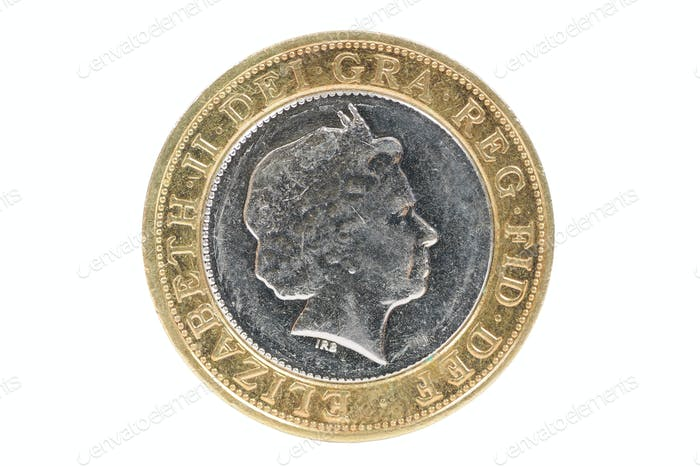Closeup of british 2 pounds coin
