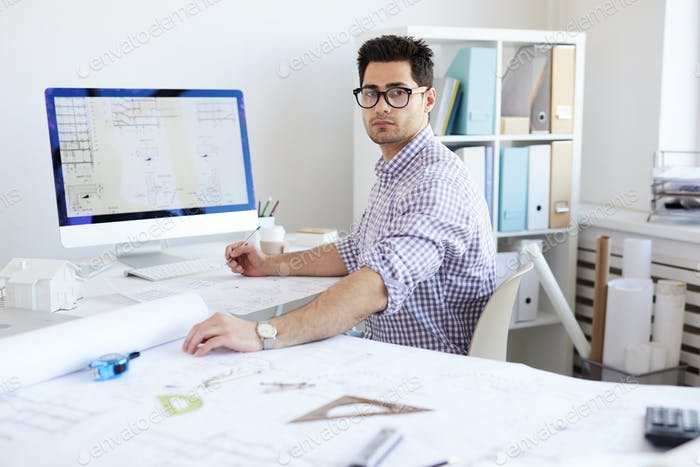 Contemporary Engineer at Workplace