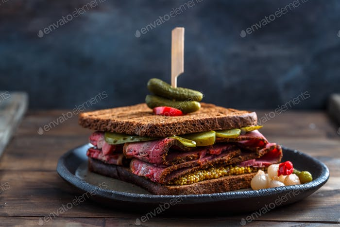 Close view of beef pastrami sandwich, isolated