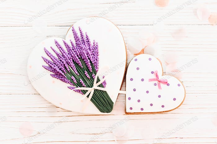 cookie hearts and lavender flowers