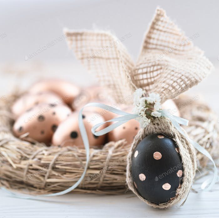 Decorated Easter eggs in black with pattern.