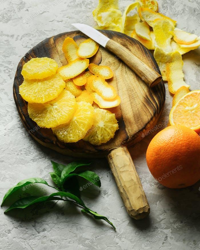 Orange pieces on grey plate closeup