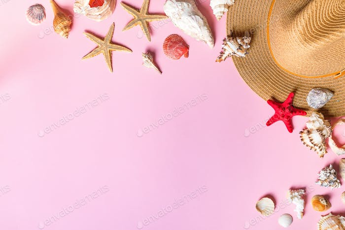 Vacation travel equipment Straw hat, and marine objects, shells, starfish On a pink background
