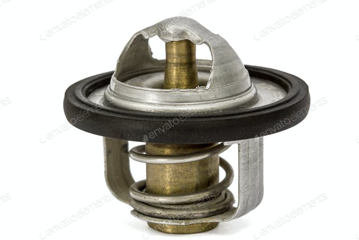 Thermostat a cooling system, spare parts for cars, isolated on w