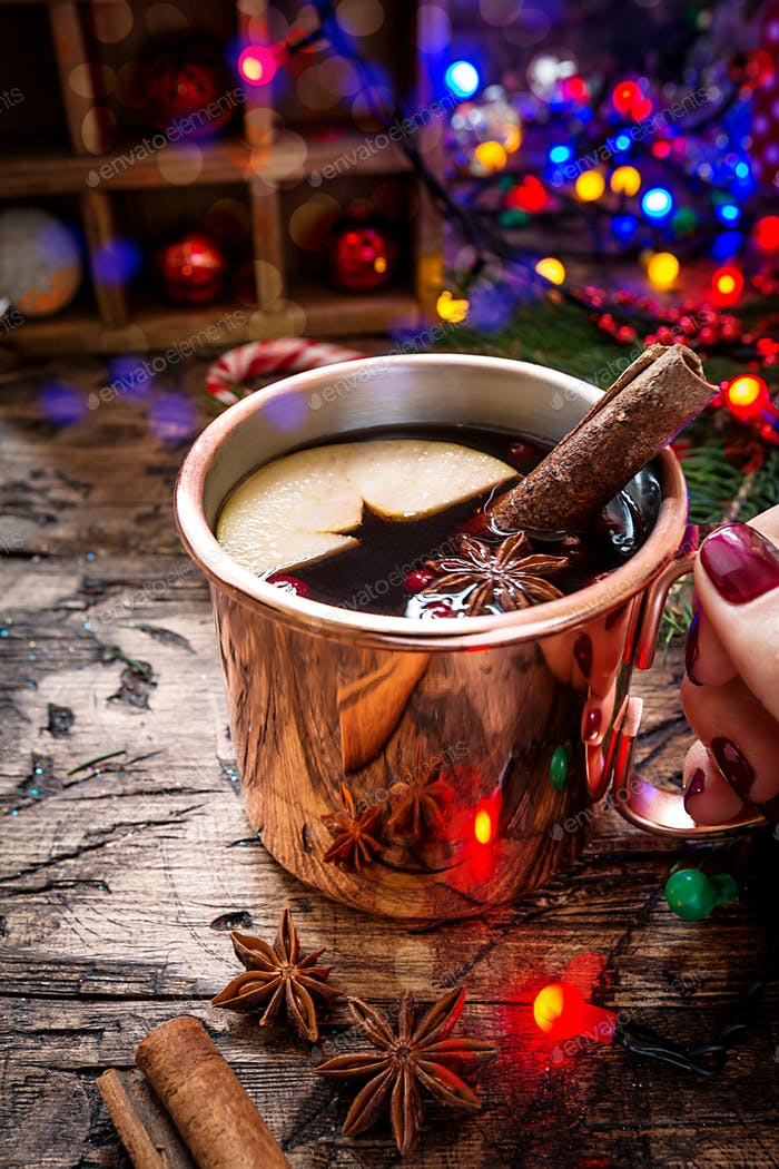 Mulled wine in copper mug.