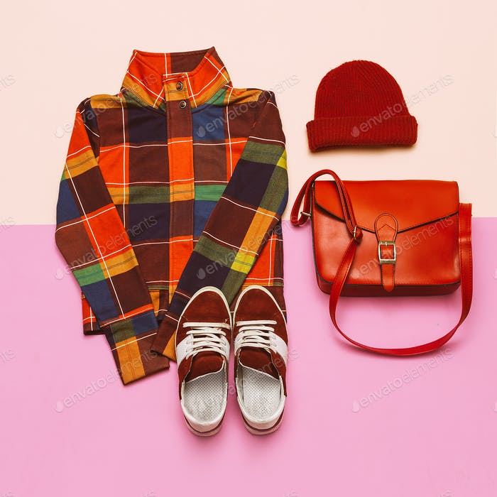 Stylish set of clothes. Checkered jacket and bright accessories.