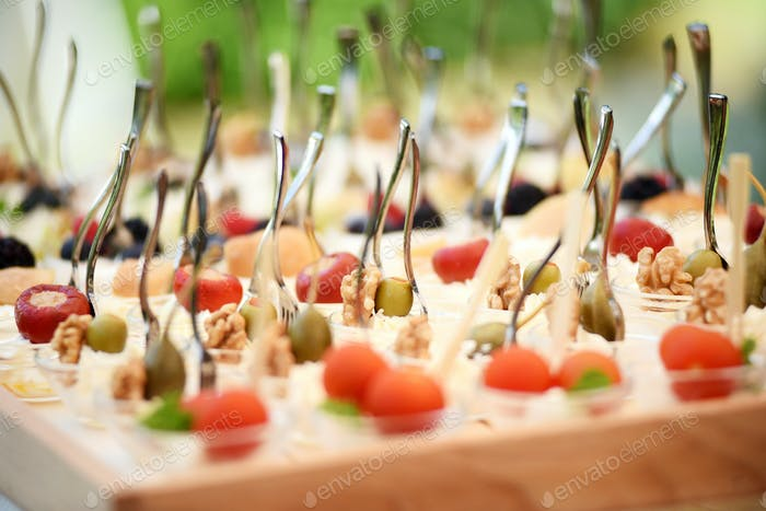 Tray with finger food on wedding