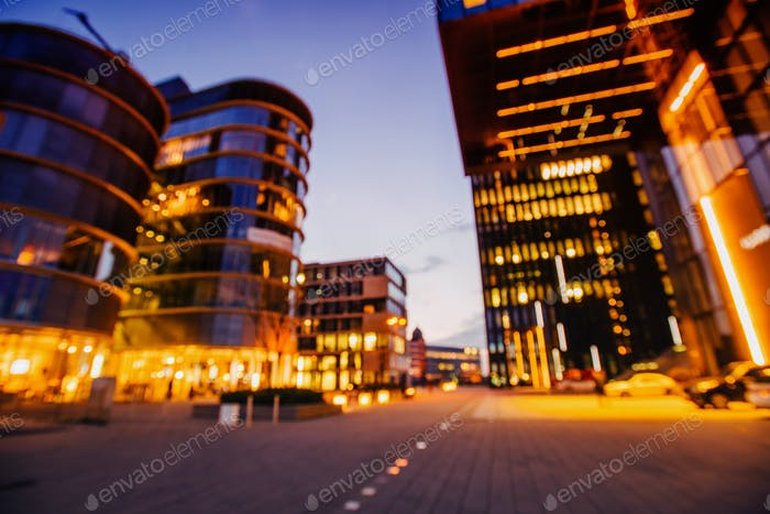 City view at dusk  Dusseldorf . Diffused photography bokeh.