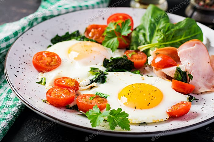 Plate with a keto diet food. Fried egg, ham, spinach, and tomatoes. Keto, paleo breakfast.