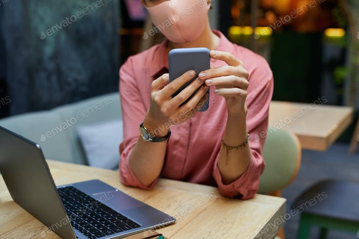 Woman typing a message
