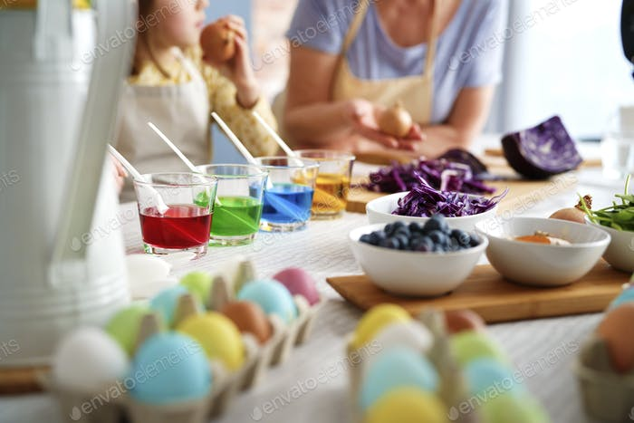 Close up of dyeing Easter eggs with natural dyes