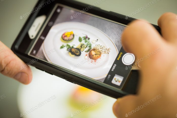 Person shooting plate with seafood